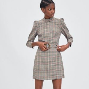 TRAFALUC Checked Brown Short Dress 3/4 Sleeves S